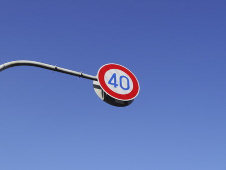 sky is the limit: Speed limit and blue sky of the road Stock Photo