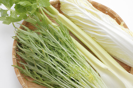 potherb: Celery and mizuna and Chinese cabbage