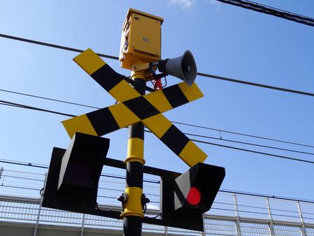 warning lights: Level crossing warning lights LED Stock Photo