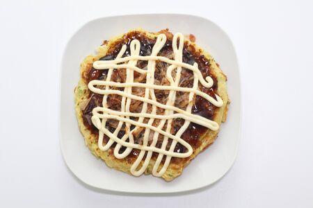 Okonomiyaki isolated on white background