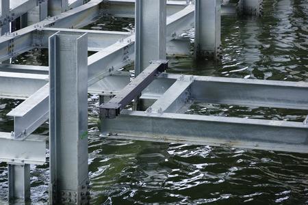 pontoon: Pontoon Construction of Steel Stock Photo