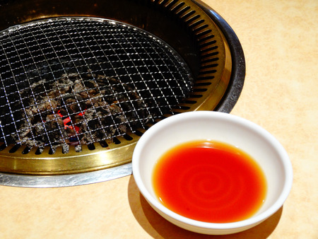 wire mesh: Roast sauce and wire mesh Stock Photo