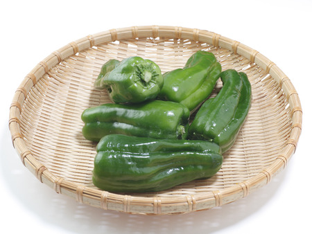 draining: Green peppers