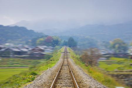 wood railroads: Transmission line Stock Photo