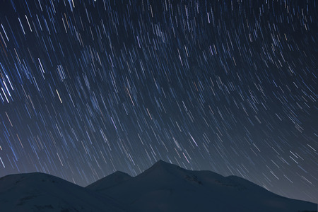 and diurnal: Starry sky and mountains