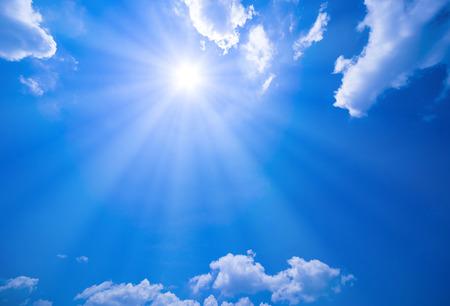 雲と太陽と青空 写真素材