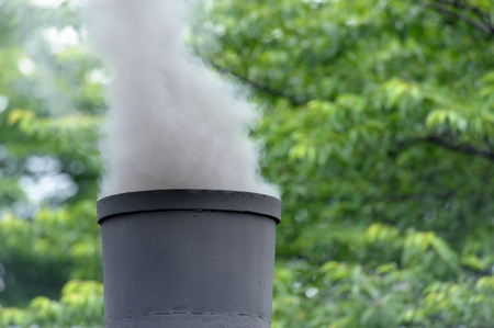 steam locomotive: Chimney and smoke of the steam locomotive Stock Photo
