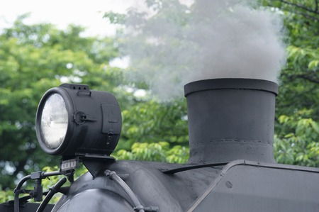 steam locomotive: Chimney and headlight of steam locomotive