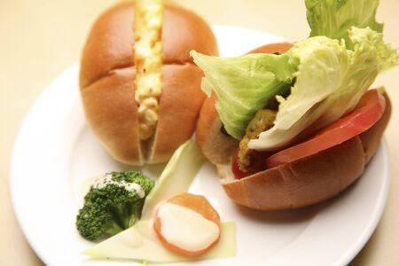 野菜サンド卵サンド 写真素材