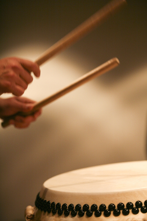 Japanese Taiko drumming Stock Photo
