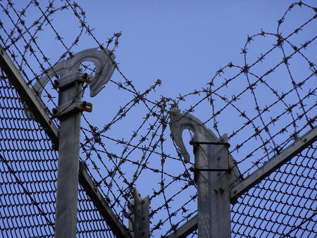 crime prevention: Crime prevention for the barbed wire of a building rooftop