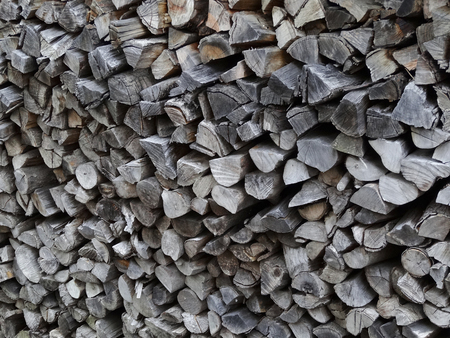 laden: Firewood of fuel to be laden in a house under the eaves Stock Photo