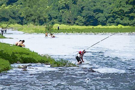 鮎釣り 写真素材
