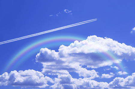 contrail: Blue sky and contrail