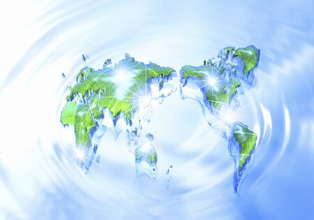 earth map: World map and ripples