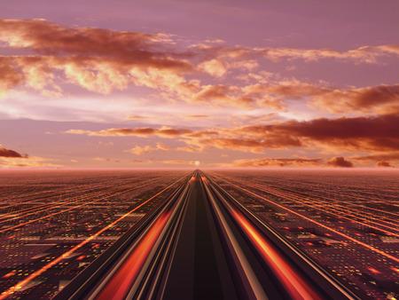 amanecer: One road. Foto de archivo