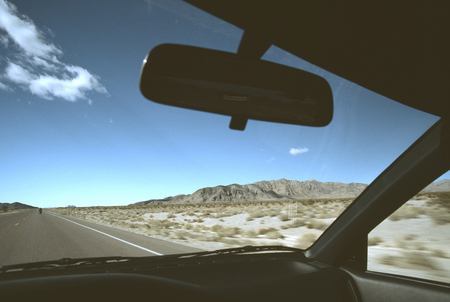 Death Valley from the car window Stock Photo
