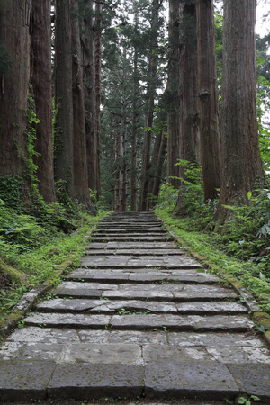 the believer: Stone steps of the haguro mountain Stock Photo