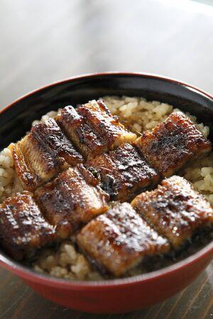 saga: Bowl of eel and rice Stock Photo