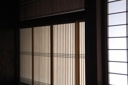lattice window: Japanese-style building lattice window Stock Photo