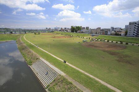 riverbed: Tamagawa green riverbed