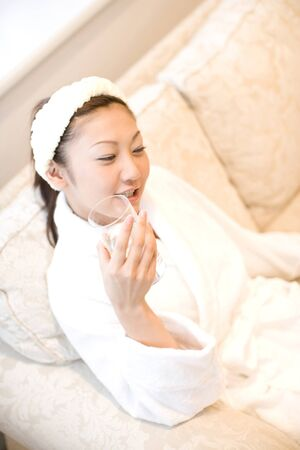oriental bathrobe: Woman wearing a bathrobe
