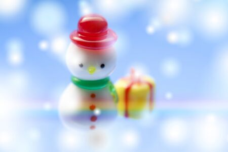 end of rainbow: Snowman Stock Photo