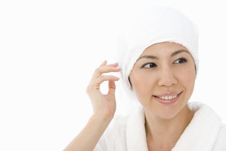 oriental bathrobe: Female portrait Stock Photo