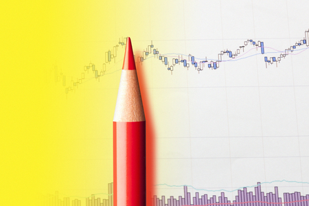 red pencil: Red pencil and graph Stock Photo