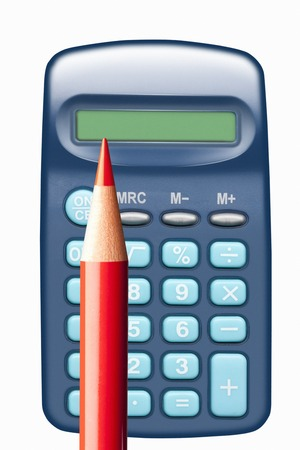 rood potlood: Calculator and red pencil