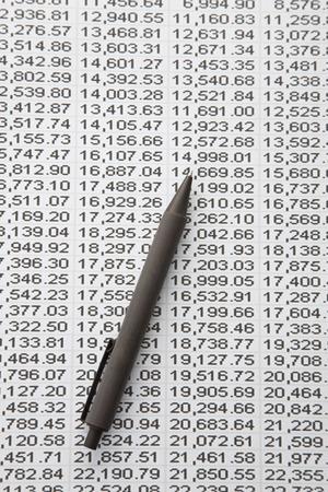 ballpoint pen: Ballpoint pen and stock prices Stock Photo