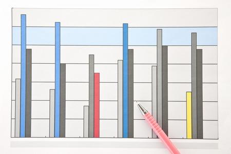 ballpoint: Ballpoint pen and graph Stock Photo