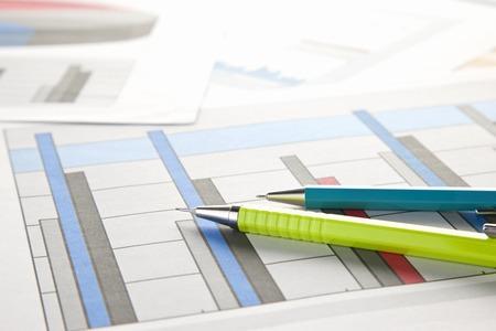 ballpoint pen: Ballpoint pen and graph Stock Photo