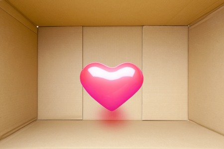 affections: Cardboard heart Stock Photo