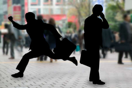 bustle: Businessman running with the businessman to call