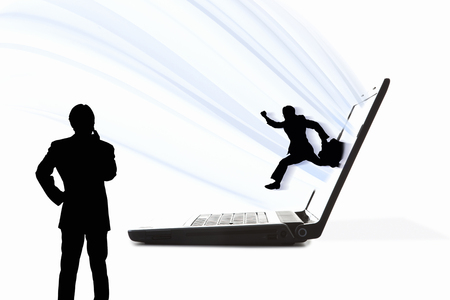 job hunting: Businessman jumping out from laptop screen