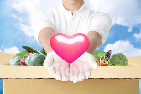 the sincerity: Deliveryman to deliver the vegetables and sincerity