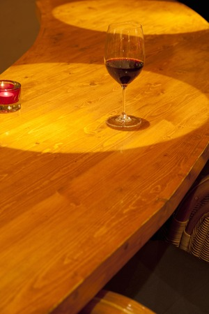 bar counter: Red wine placed on the BAR counter