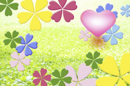 steppe: Colorful flowers and heart