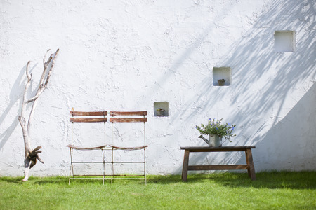 wall light: Ornamental plants and chairs placed in the garden