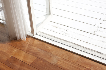 intermission: Garden of the wood deck and flooring Stock Photo