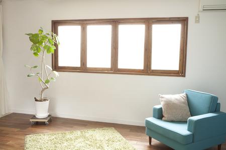retrospective: Windowsill of the sofa and cushion Stock Photo