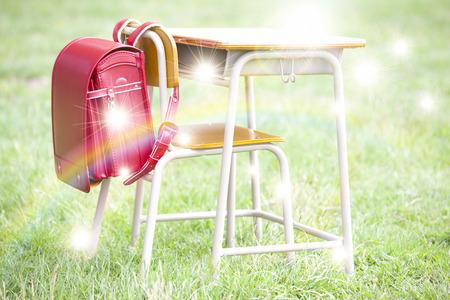 school desk: Study desk  school bags Stock Photo