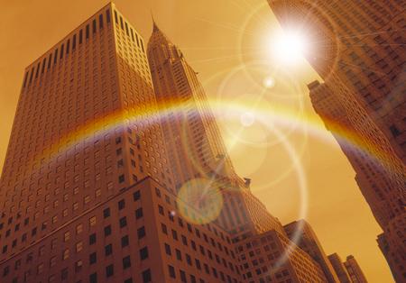 虹と超高層ビル