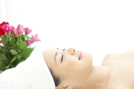 facial features: Salon bed lying women