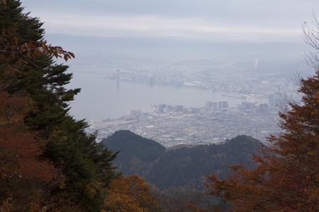 summit lake: Hiei Lake Biwa seen from the summit Stock Photo