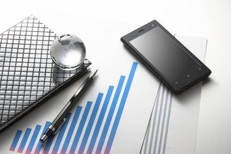 Smartphones and graphic materials 写真素材
