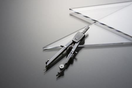 コンパスと三角定規 写真素材