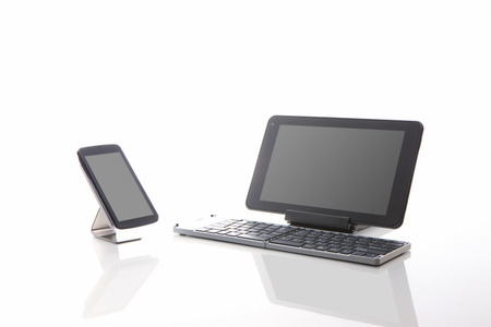 call out: Tablet PCs and smart phones Stock Photo