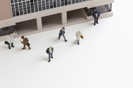 scaled down: Miniature of the businessman Stock Photo